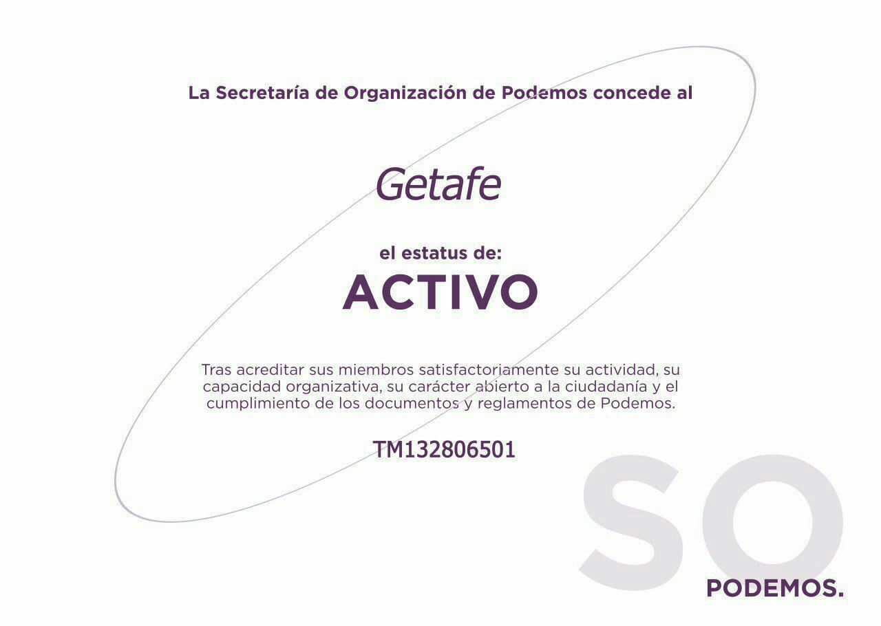 El Círculo Podemos Getafe acredita el estatus: activo