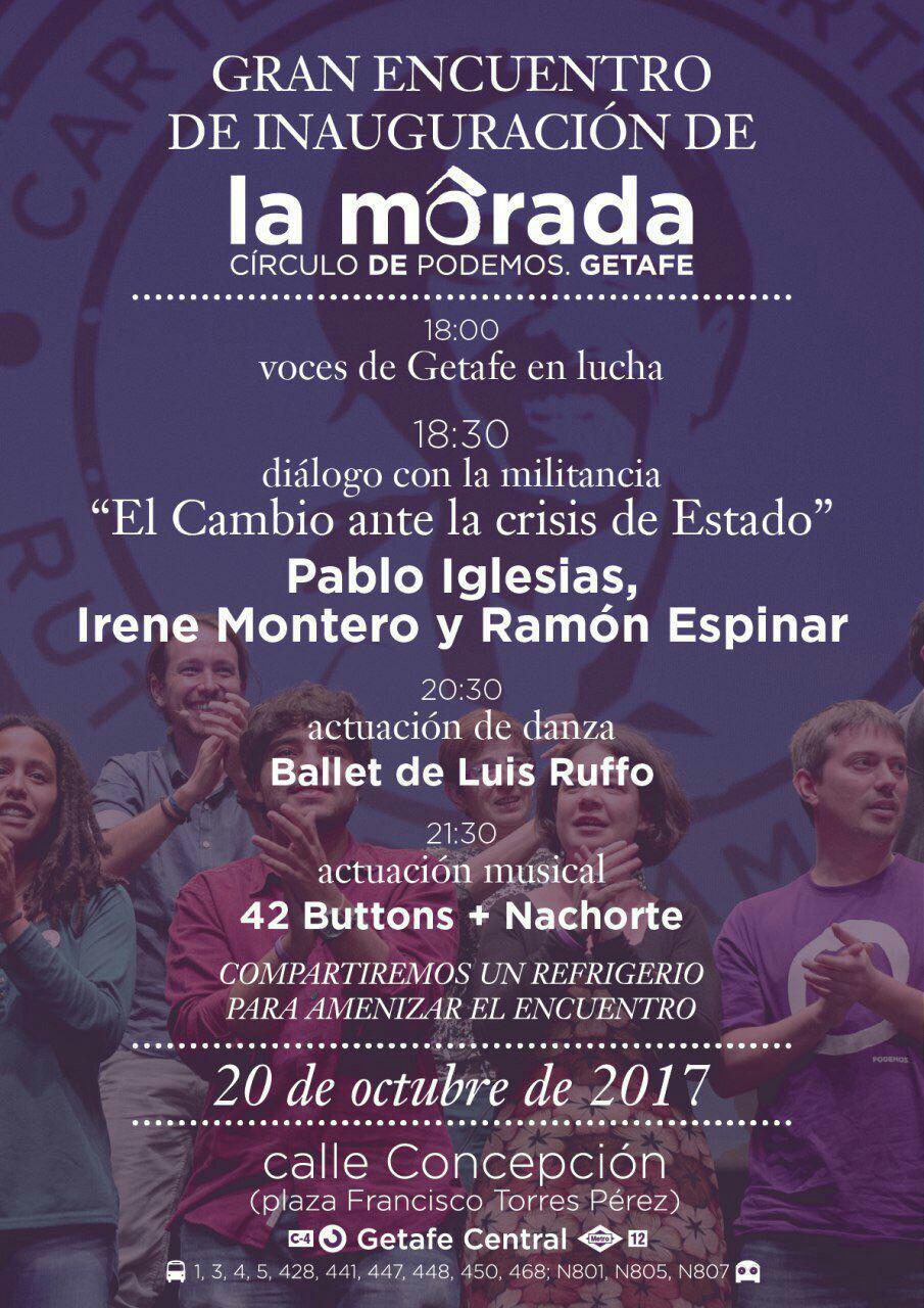 El viernes, fiesta de inauguración de La Morada del Círculo Podemos Getafe