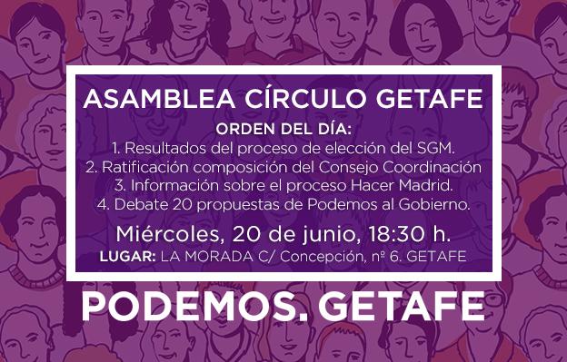 Próxima asamblea Círculo Podemos Getafe: 20 de junio