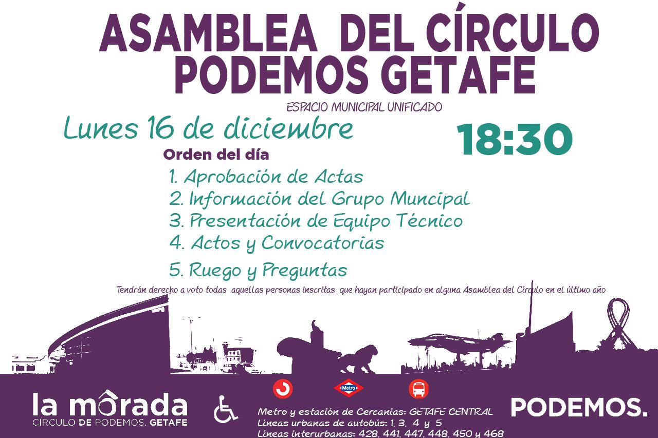 Convocatoria de la Asamblea del Círculo Podemos Getafe el lunes 16 de diciembre