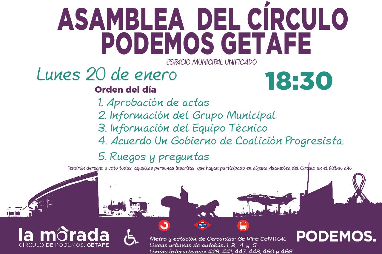 Convocatoria de la Asamblea del Círculo Podemos Getafe