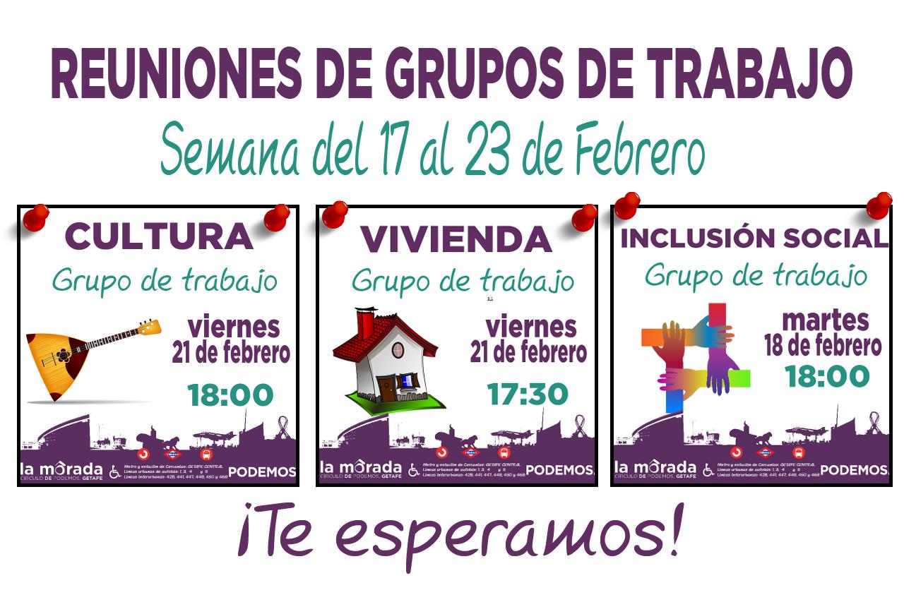 Reuniones de los grupos de trabajo de la semana del 17 al 23 de febrero