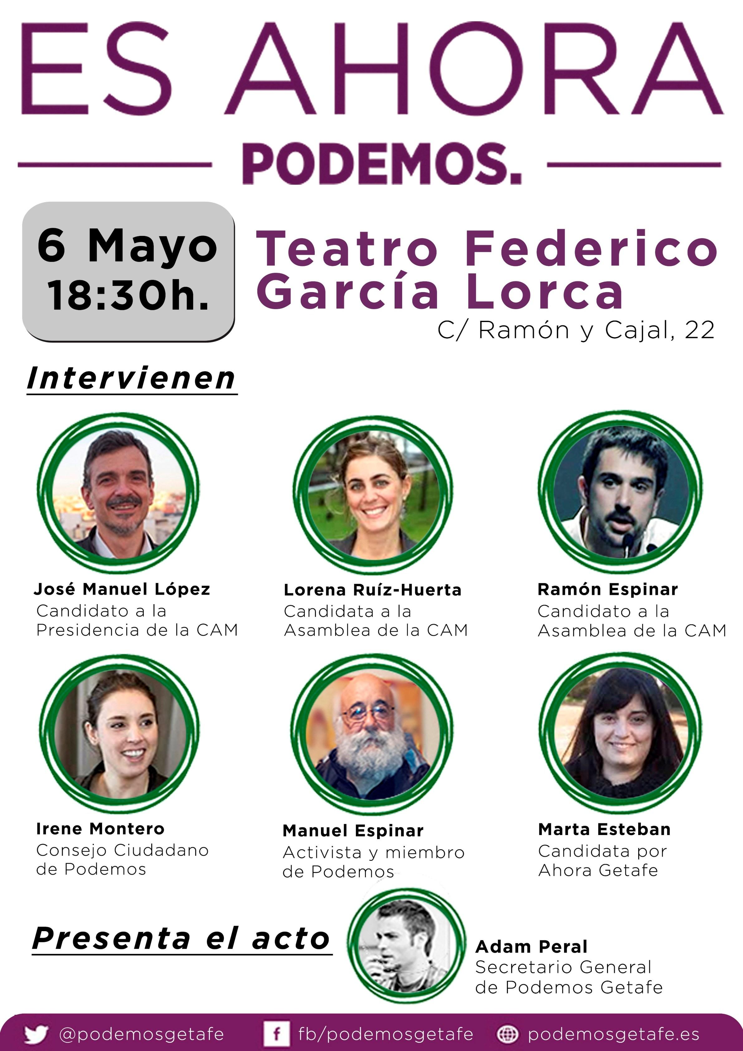 Acto de Presentación de la candidatura de Podemos a la Asamblea de Madrid
