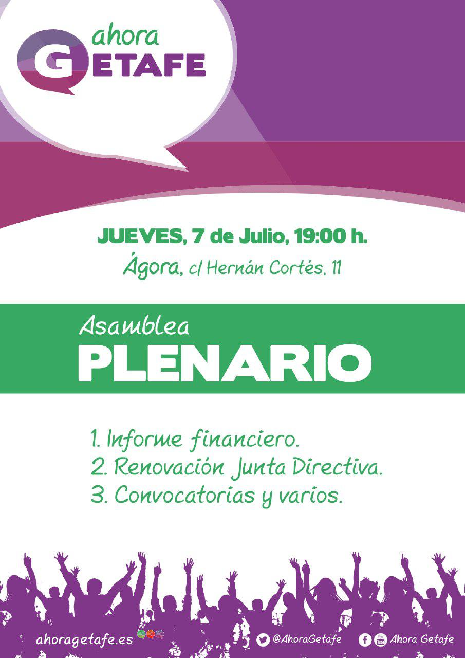 Asamblea plenario Ahora Getafe, jueves 7 julio