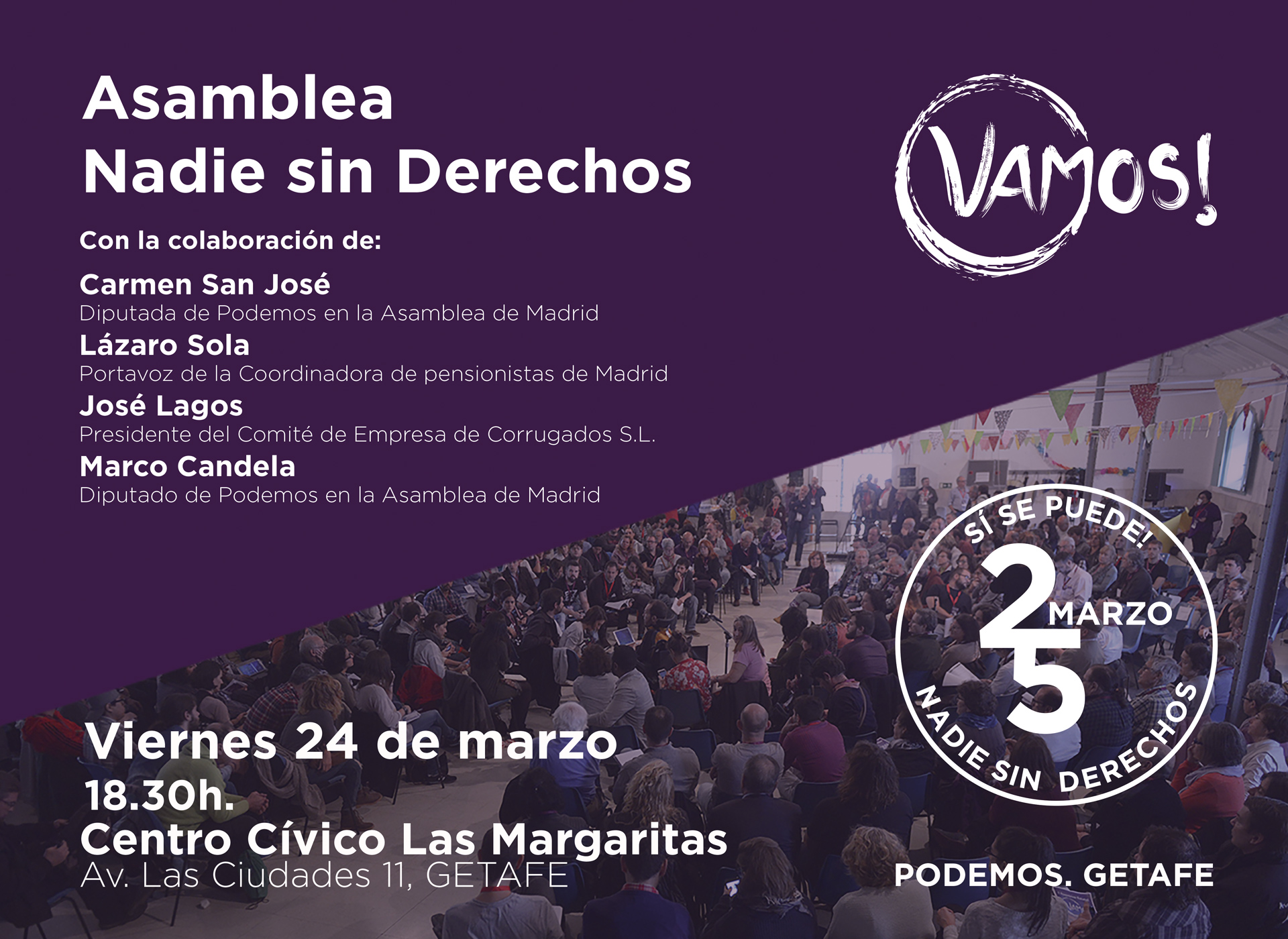 """24 marzo: Asamblea """"Nadie sin derechos"""", organizada por Vamos! Getafe"""