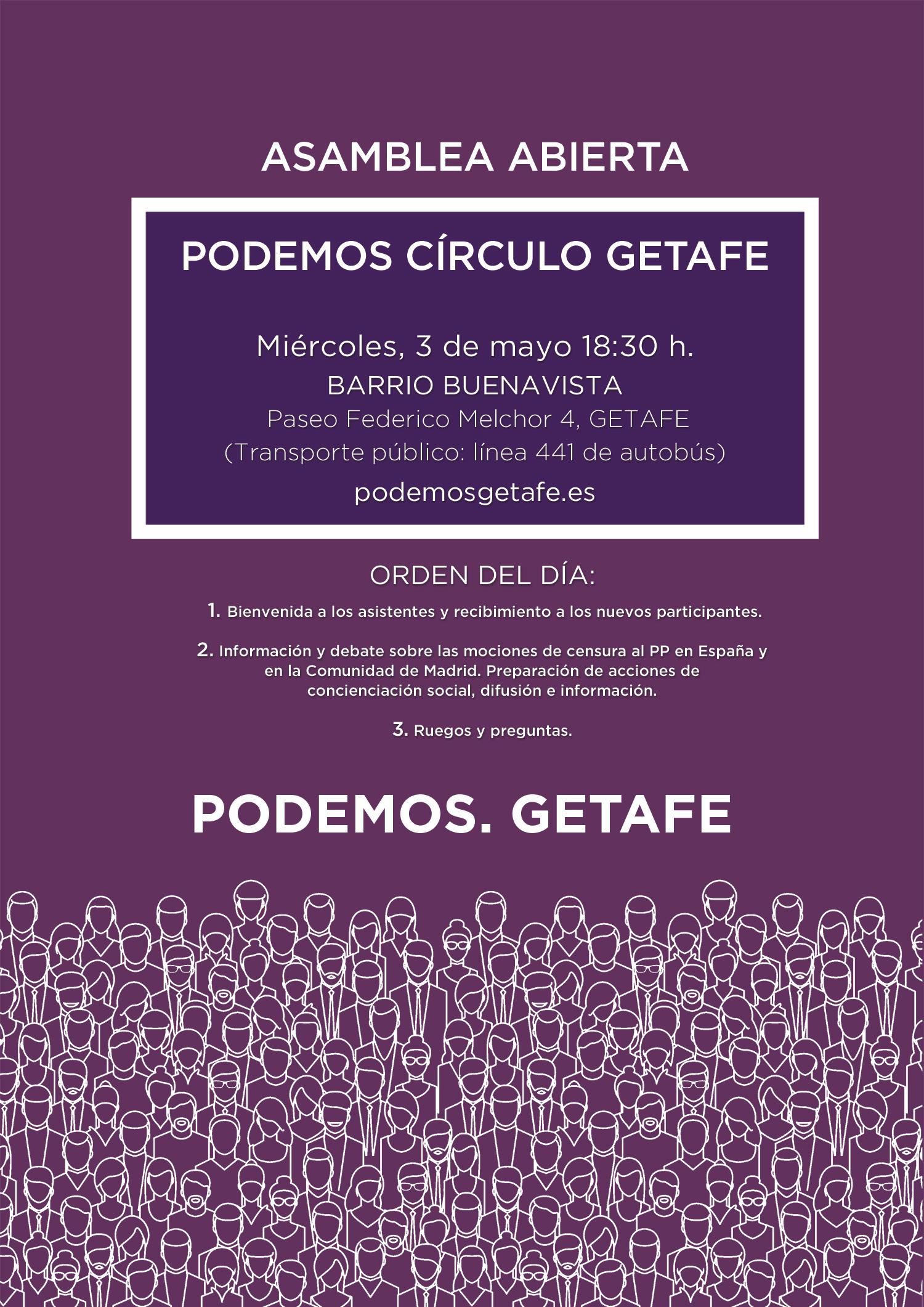 Asamblea Círculo de Podemos Getafe: Buenavista, 3 mayo