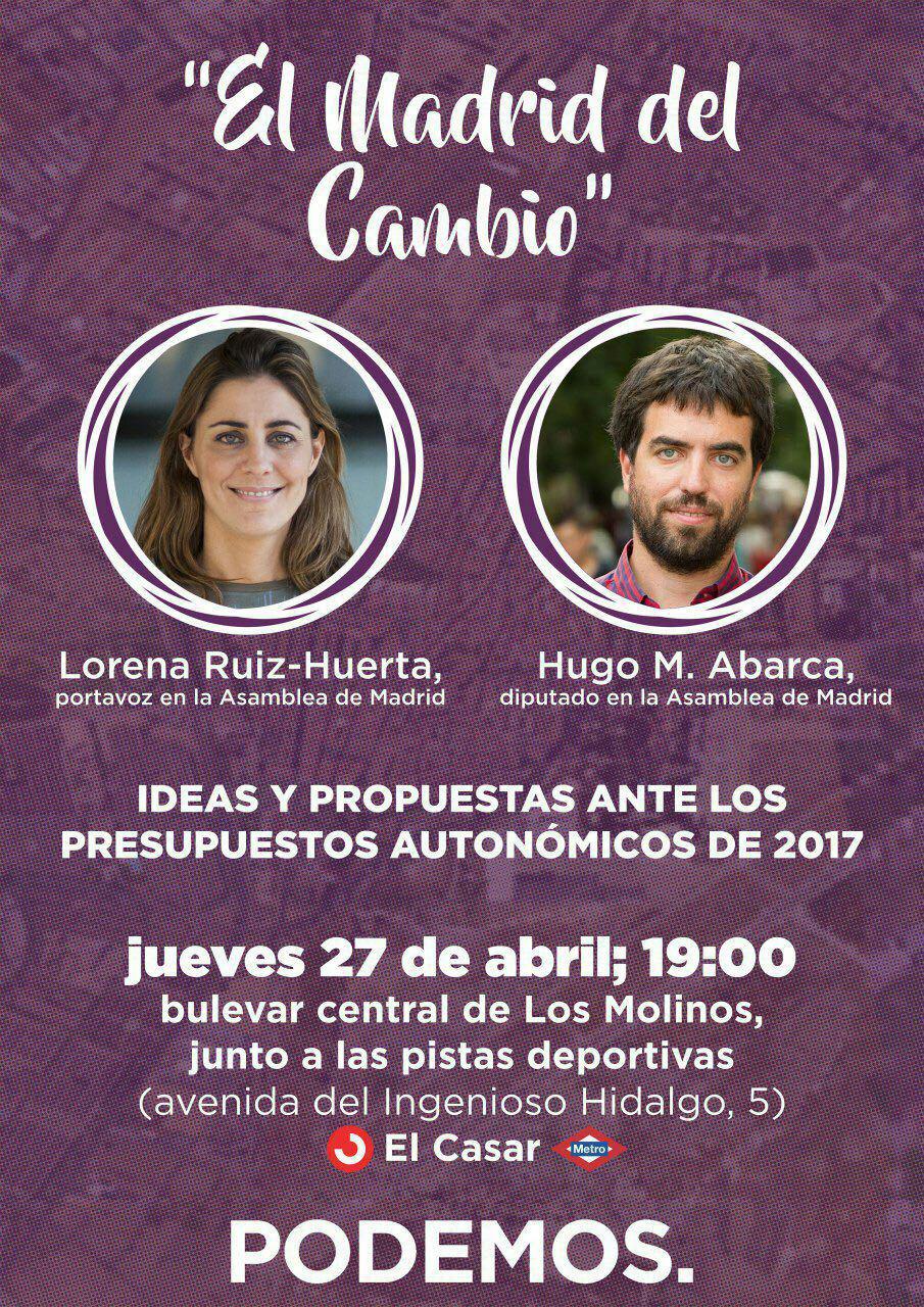 «El Madrid del cambio», jueves 27 en Los Molinos