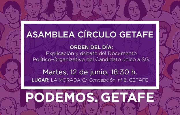 Asamblea del Círculo de Getafe: el martes 12 de junio