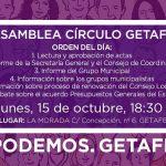 Asamblea Círculo de Getafe: lunes 15 octubre