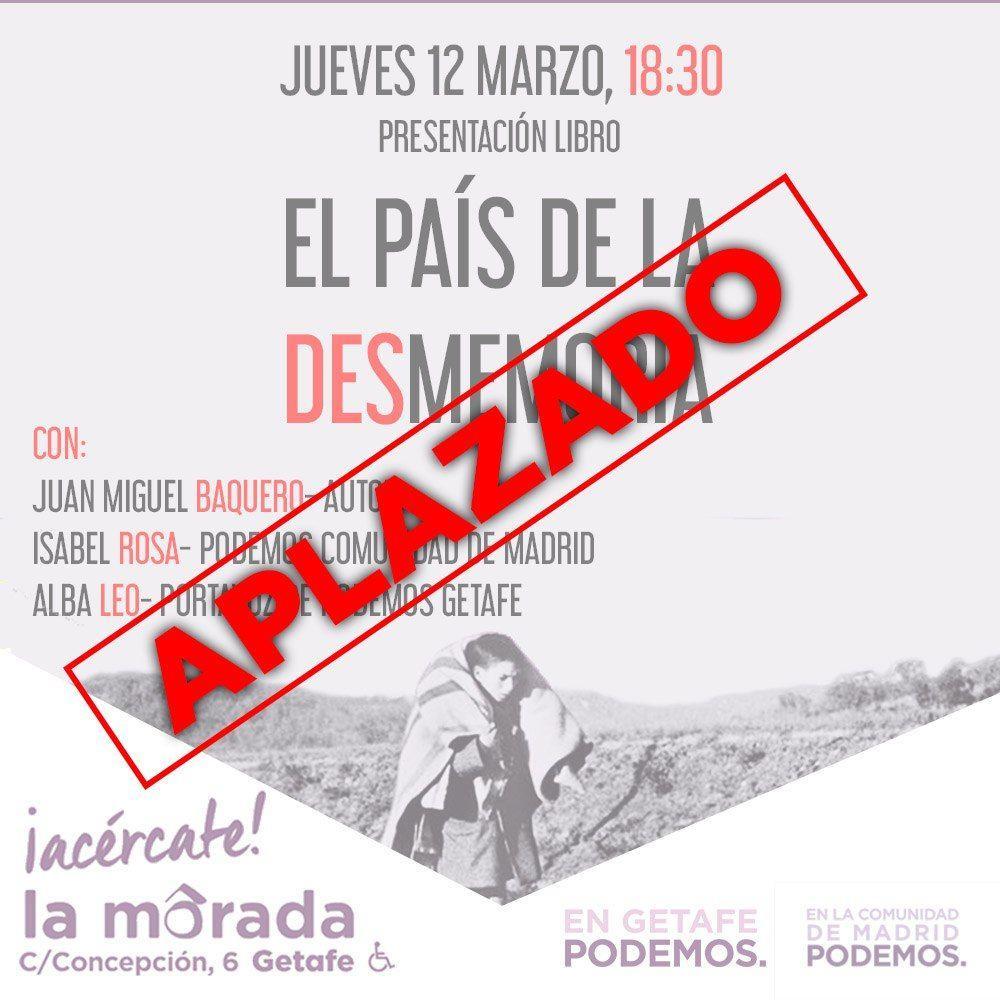"""Aplazada la presentación del libro """"El país de la desmemoria"""", de Juan Miguel Baquero, en La Morada de Getafe"""